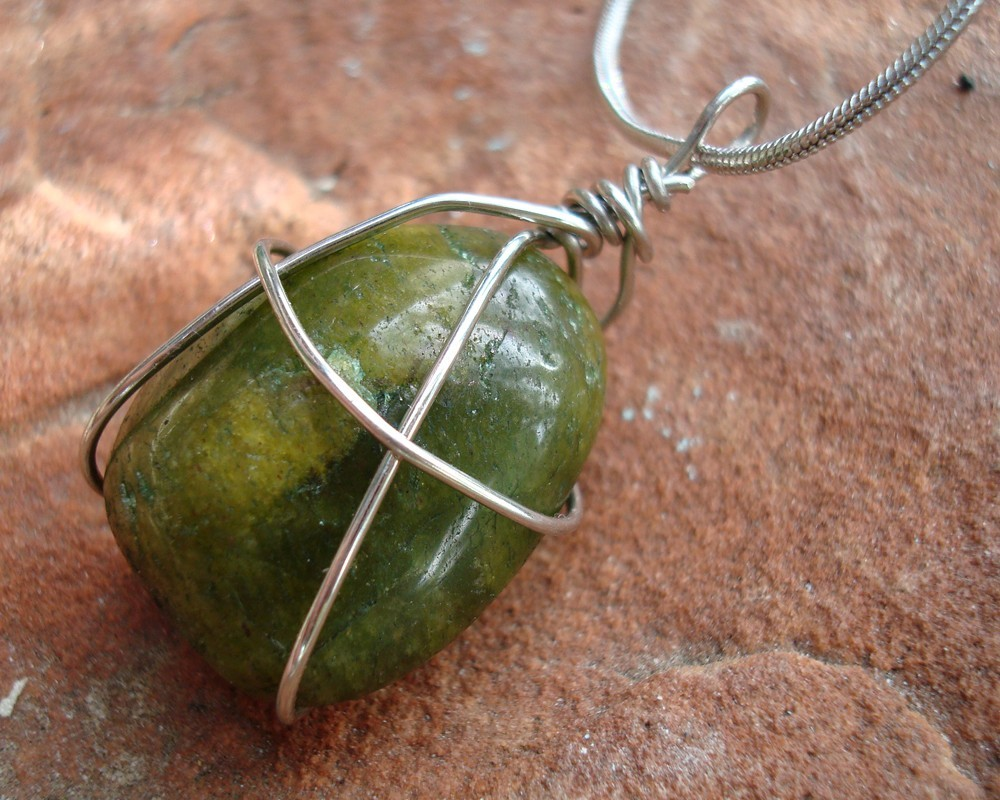 Wire Wrapped Gemstone Pendant Aventurine Green