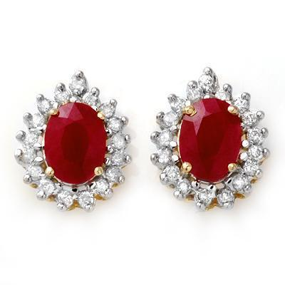 ACA Certified-4.44 ctw Ruby & Diamond Earrings 14k Yellow Gold