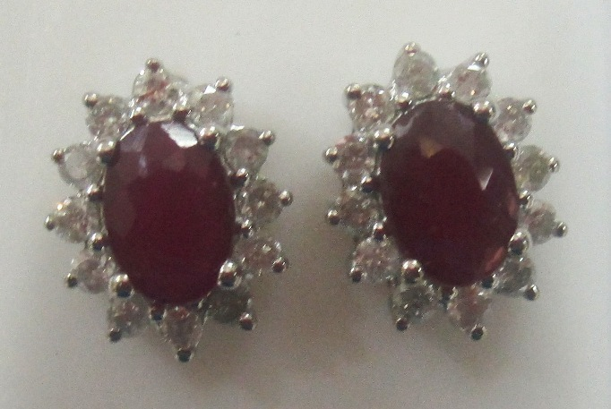 Stunning 2.48 ctw Ruby & Diamond Earrings 14k Yellow or White Gold