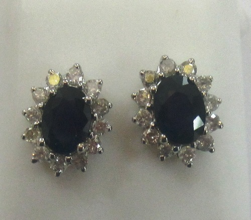 Stunning 2.48 ctw Sapphire & Diamond Earrings 14k Yellow or White Gold