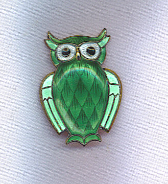 GREAT SALE!! David Andersen Vtg. Sterling Guilloche Owl Pin