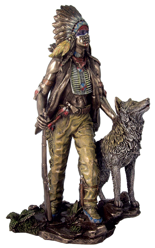 Sale - Native American Indian Sculpture - Plains Indian w/ Wolf