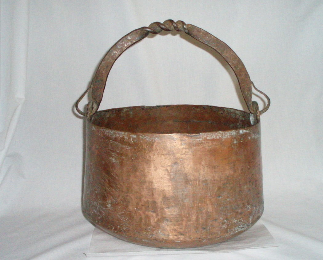 Large Antique Copper Bucket hand made iron handle 12 x 9