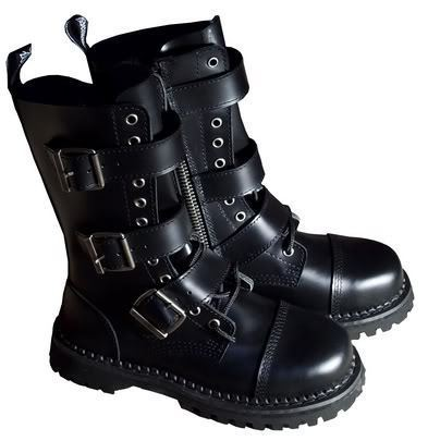 COMBAT STEEL TOE LEATHER BIKER EMO GOTH CALF BOOTS MENS
