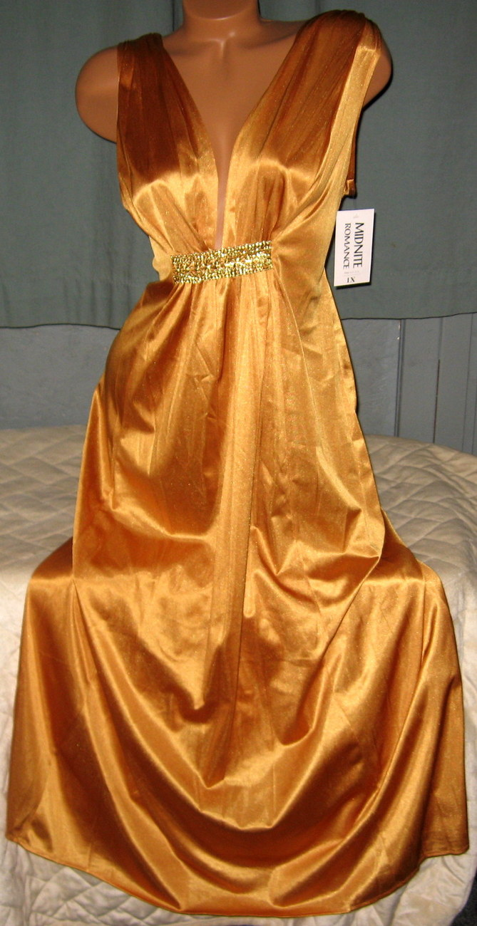 Gold Nylon Long Nightgown Elegant Plunging Neckline 3X Plus Size Lingerie