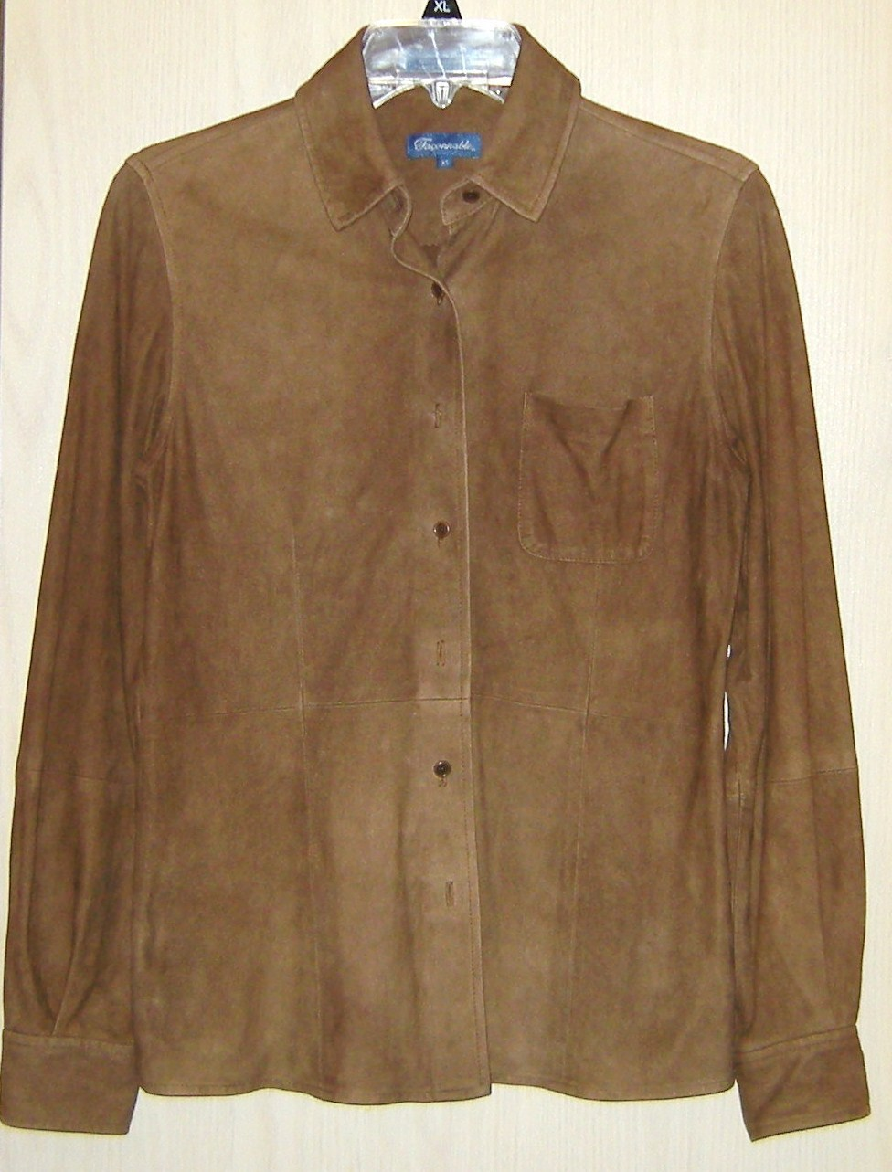 Faconnable Brown Goatskin Suede Leather Womens Soft Jacket  Shirt