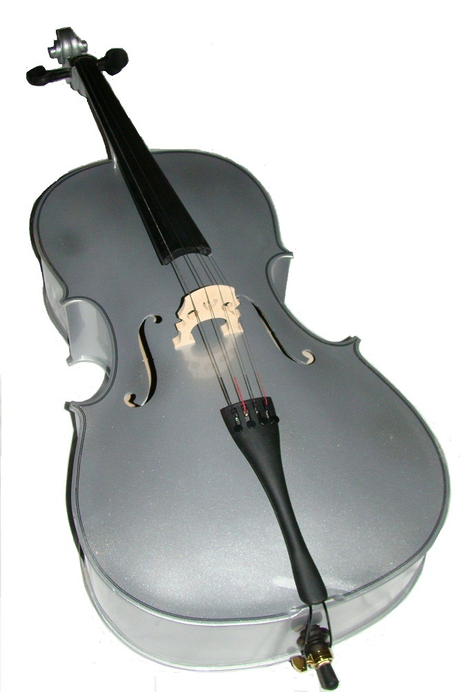 Crystalcello 4/4 Size Silver Cello with Carrying Bag and Bow