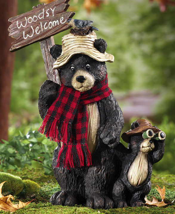 Northwoods Woodsy Welcome Bears Garden Statue New. U0027.