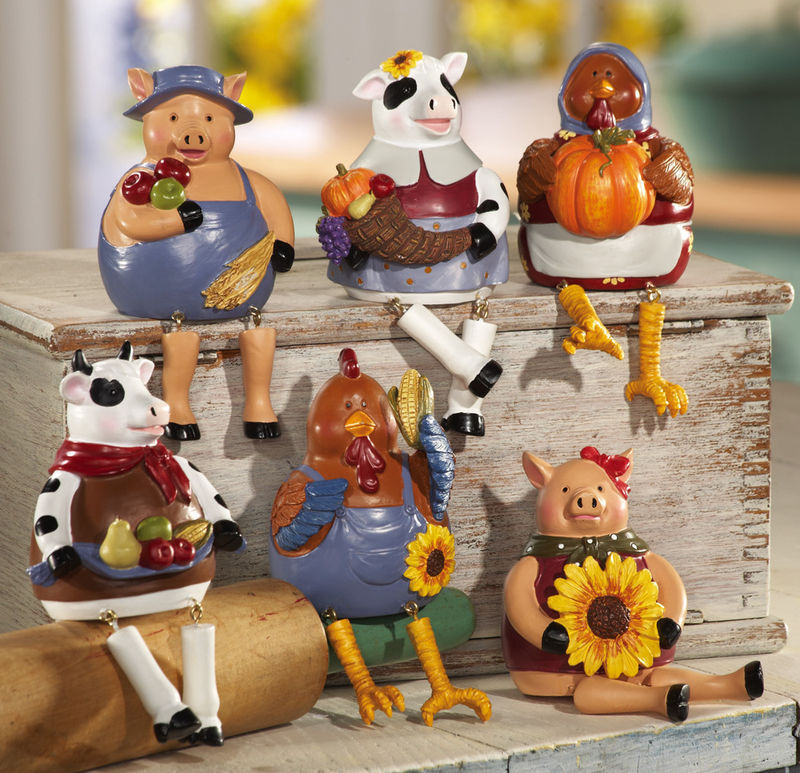 6 Pc Country Barnyard Animals Collectible Sitters New