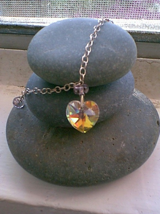 Vintage Victorian Swarovski Crystal Heart Necklace
