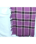 Liz Sinclair Scarf in Purple and Black plaid Ac... - $5.00