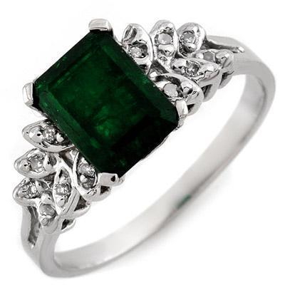 ACA Certified-2.12 ct Emerald & Diamond Ring White Gold