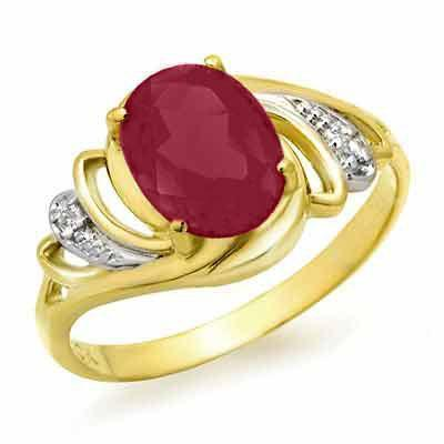 ACA Certified-2.25 ct Ruby & Diamond Ring 14K Y Gold