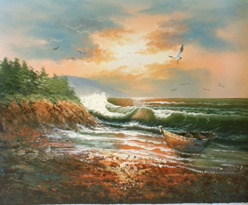 Abandoned  Beach Original Oil Painting Seascape Canvas