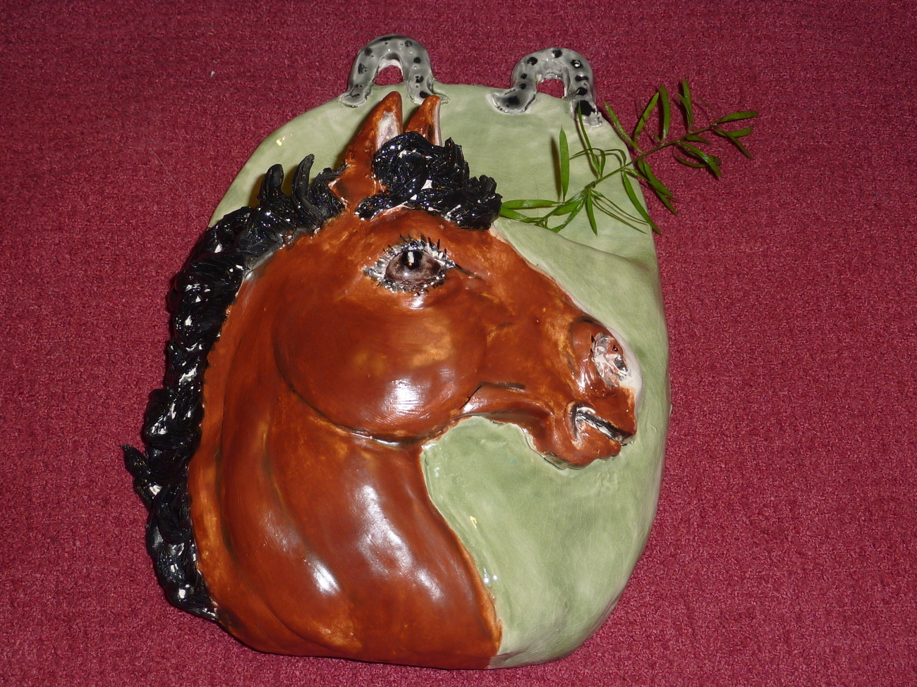 Bay Horse Wall Pocket, vase, Hand Made in USA, not from a mold, custom orders