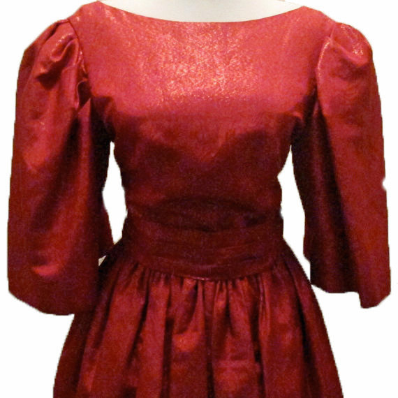 Vintage Dress Couture  Elizabeth Arden Scarlet Red Gown Large