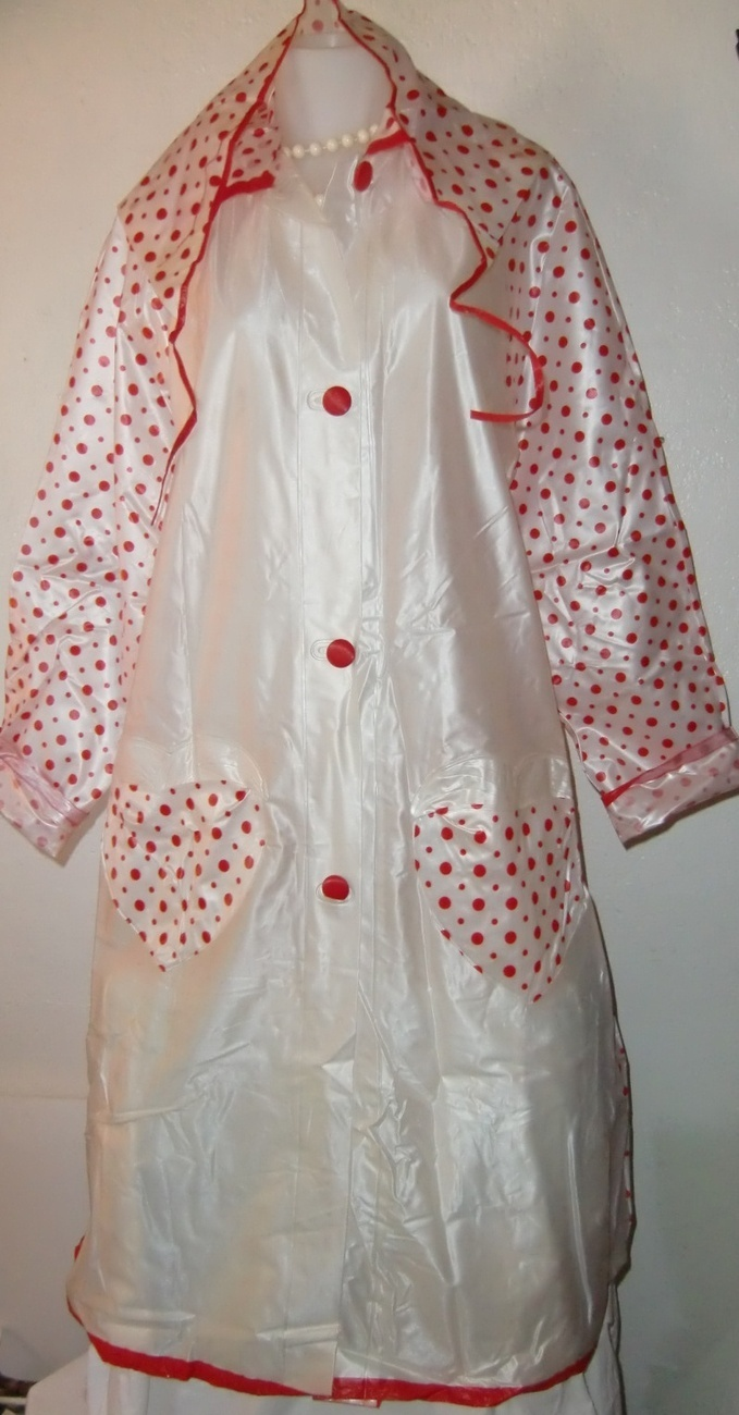 60's Vinyl Fold Away Ladies Womens Rain Coat with 3 Corner Hat Women