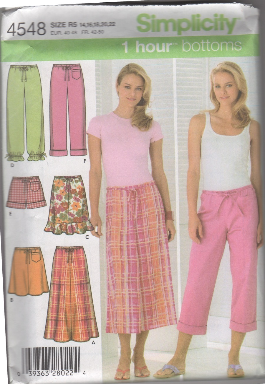 Simplicity 4548 Misses' Skirt & Pants Sewing Pattern, Sizes 14-22