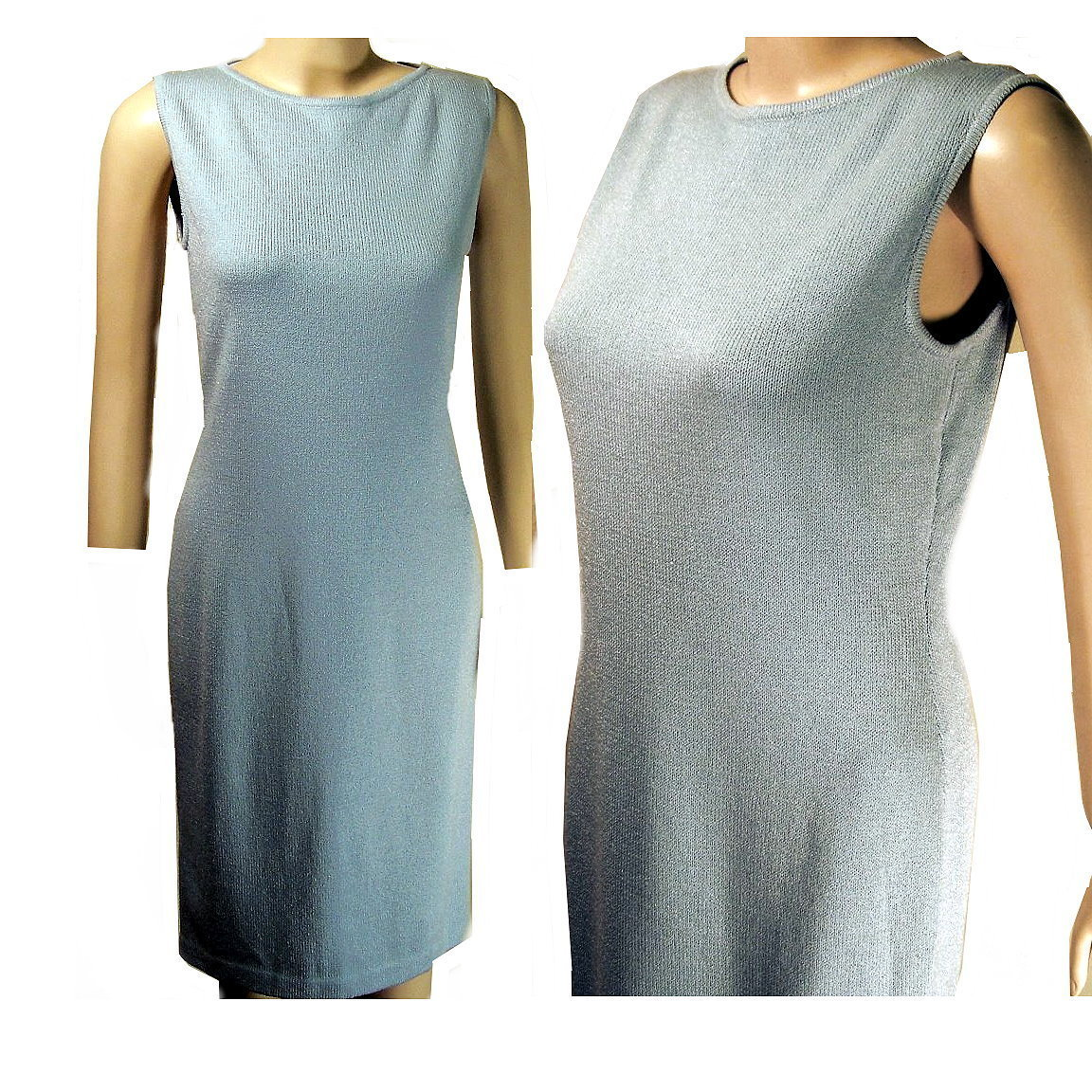 St John Marie Gray santana knit blue dress size 2