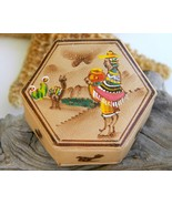 Vintage Peruvian Leather Trinket Box Handpainte... - $17.95