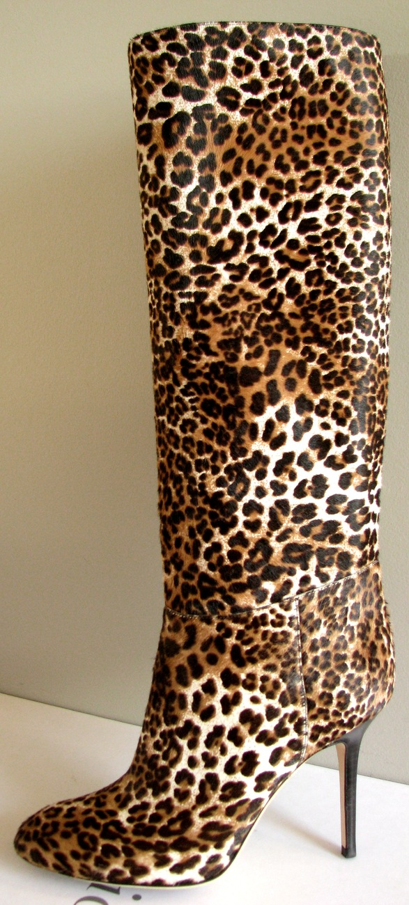 $1495 2011 JIMMY CHOO ANYA ANIMAL PRINT PONY HAIR SEXY TALL BOOTS 40 / US 9