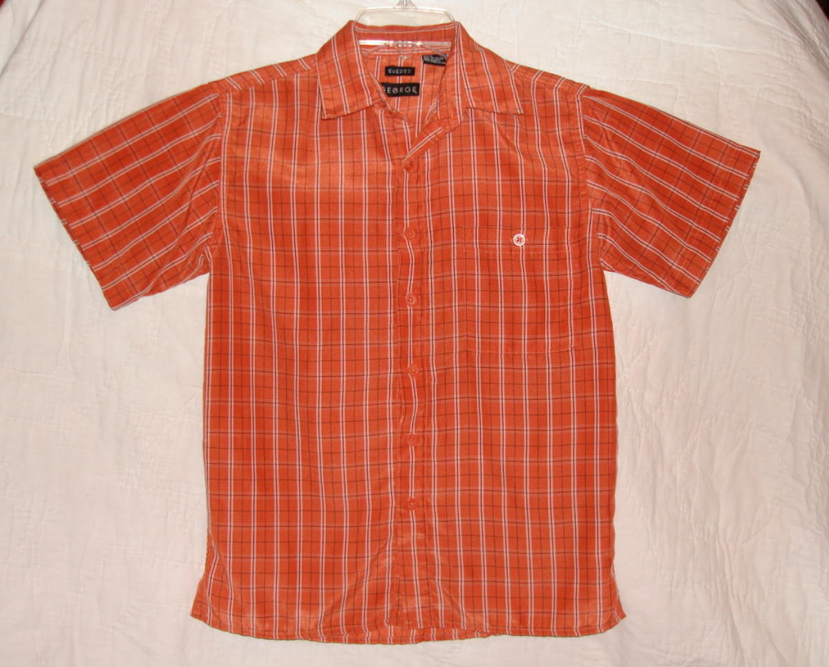 George Dress Shirt Boys Short Sleeve Orange Black Med 8 10