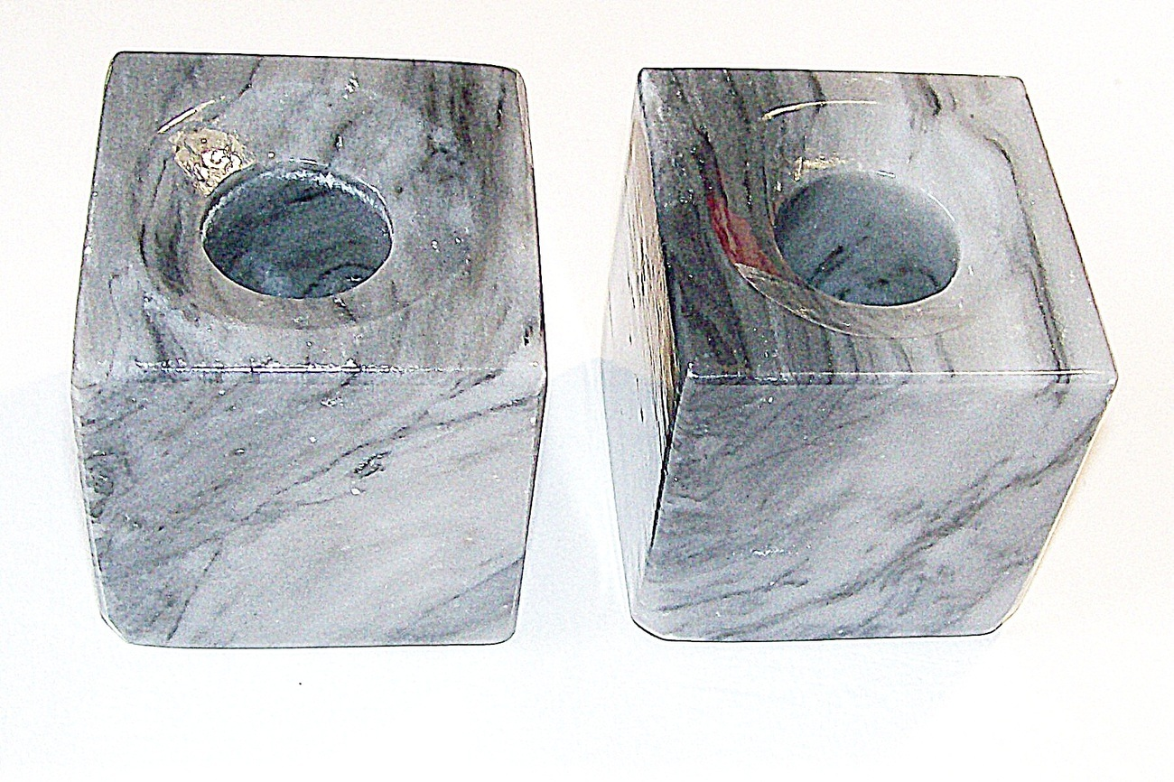 2 Onyx Candleholders white, gray and black variegated Dining Room Living Room