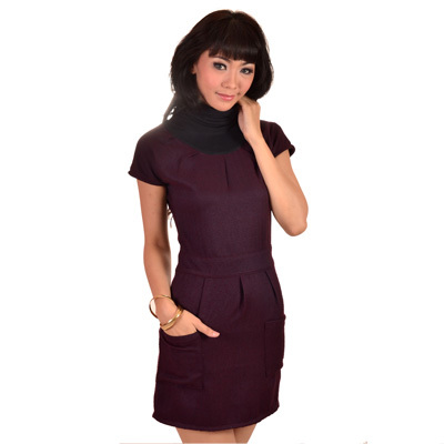 Sophistix - Sierra Maroon High Collared Cap Sleeve Dress : Sizes S M L XL 1X