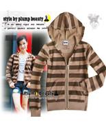 Women's Brown Stripes Zip Sweatshirt Hoodie Jac... - $12.00