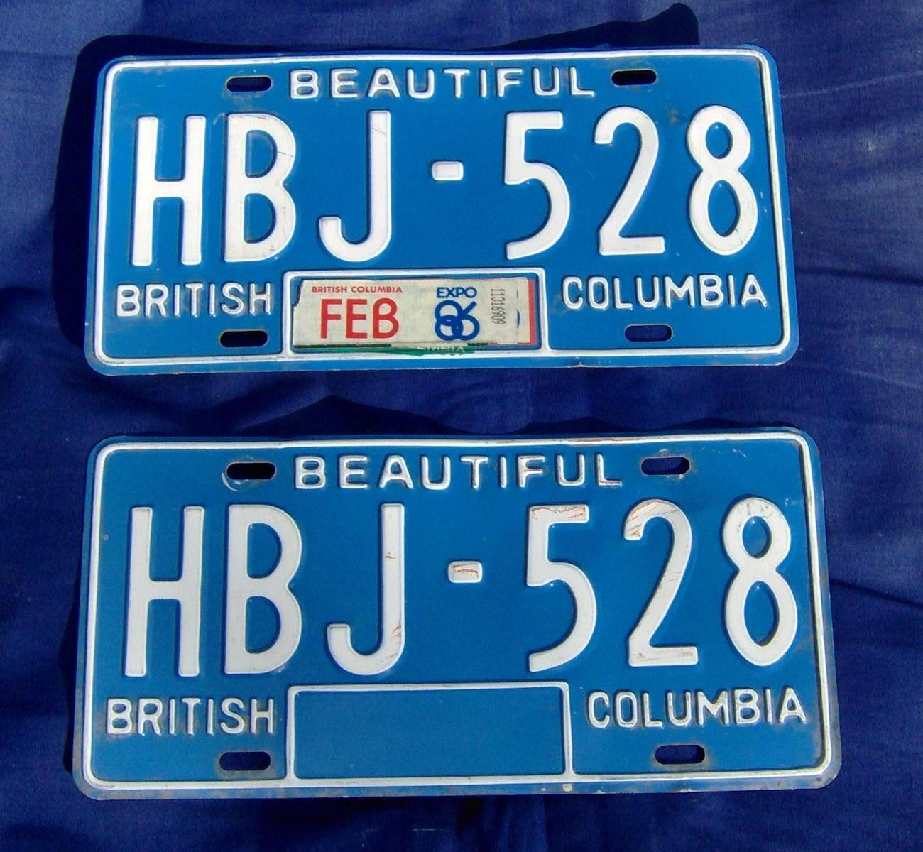 1979 to 1985 Vintage Canada BC License Plates Pair