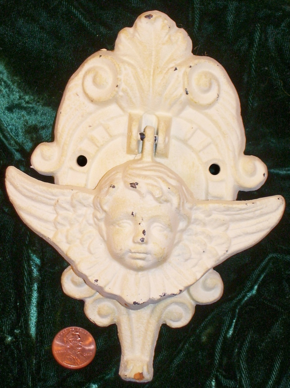 "Cast Iron Angel Door Knocker painted ""new"" antiques Historical Preservation"