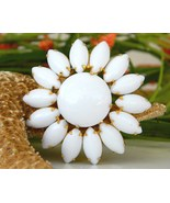 Vintage White Milk Glass Brooch Pin Flower Peta... - $18.95