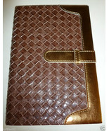 BROWN & GOLD FAUX LEATHER BASKET WEAVE DIARY JO... - $10.99