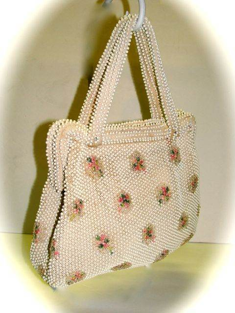 IVORY BEADED VINTAGE HANDBAG BAG PURSE WITH PINK FLORAL
