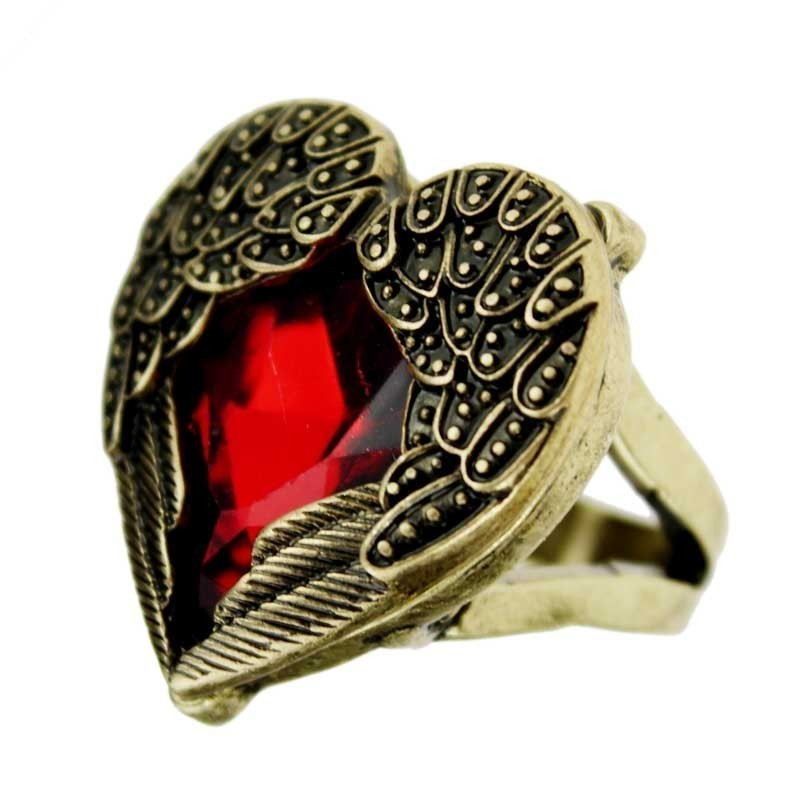 retro brass angel wings red cut gemstone heart ring cool unique gift