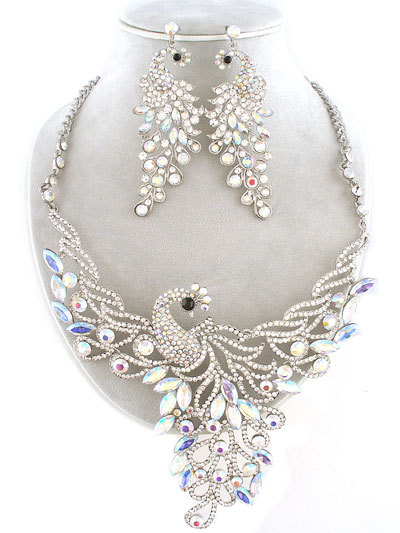 Clear Crystal Peacock Necklace Set