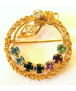 Mothers Birthstone Wreath Brooch Pin 1/20 12k GF