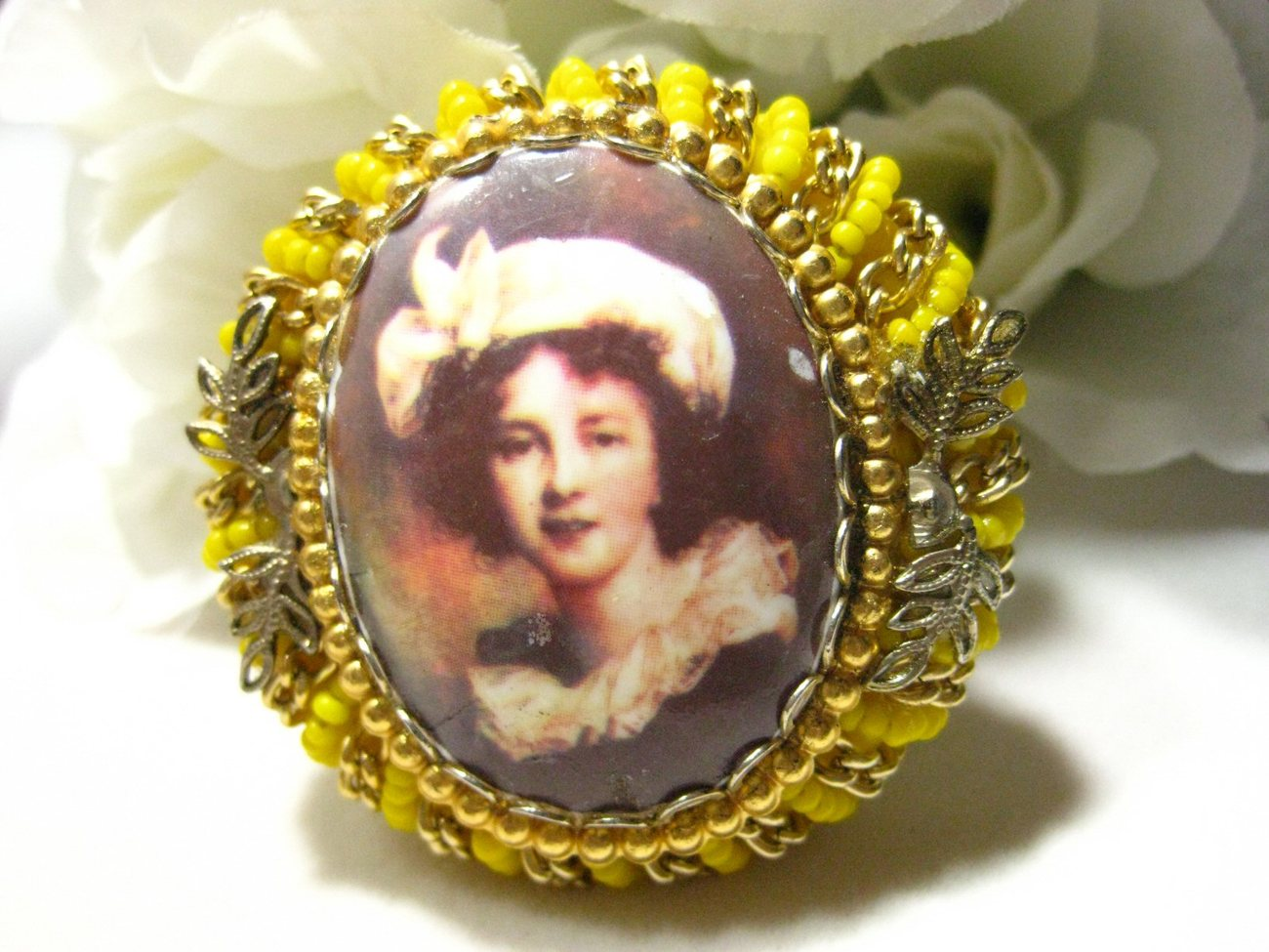 Vintage Beaded Porcelain Victorian Lady Portrait Brooch