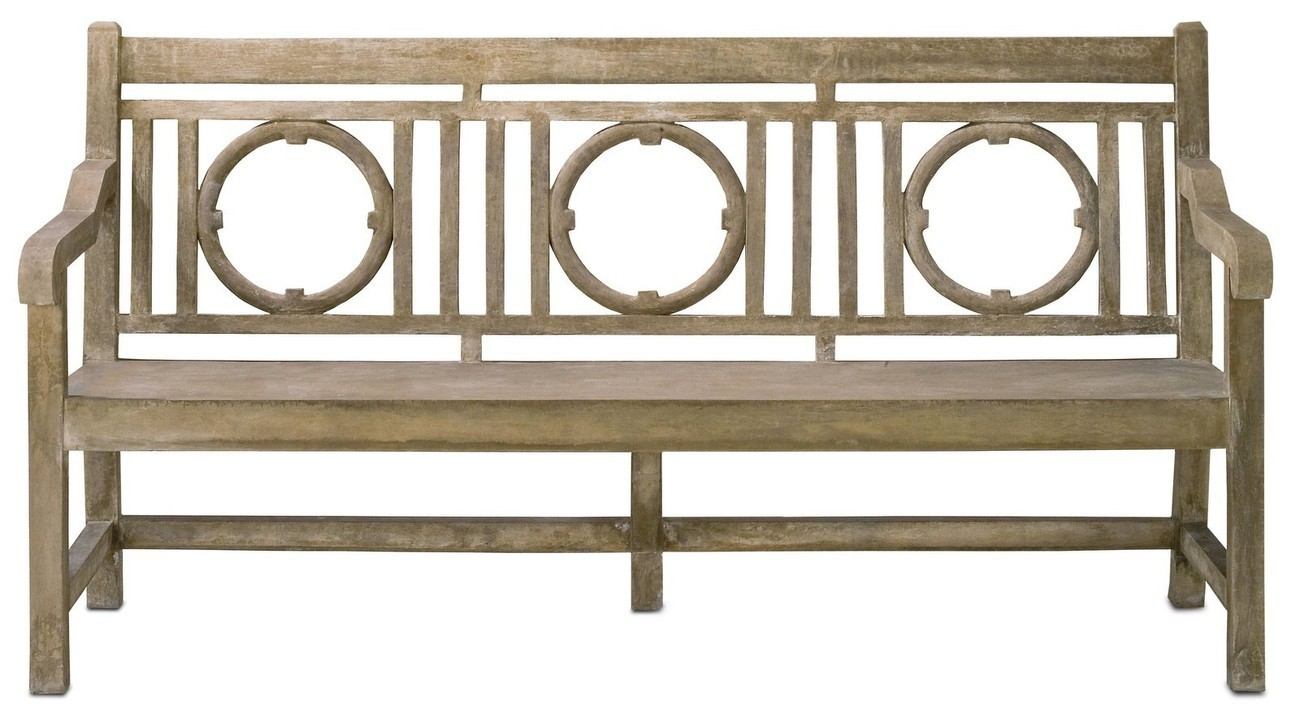 Currey & Co. Company #2722, Leagrave Bench, 74 W, Indoor / Outdoor Patio, GARDEN