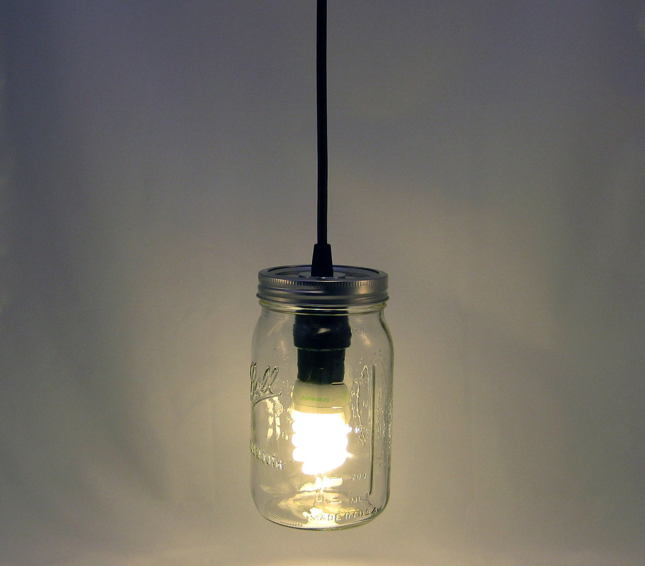 Ball Mason Jar Hanging Pendant Light w/ Canopy - BMQL-SVTc