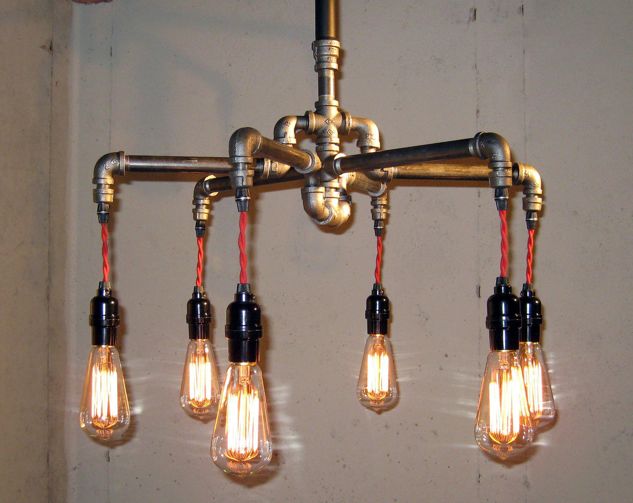 Industrial - Black Malleable Iron 6-Bulb Chandelier