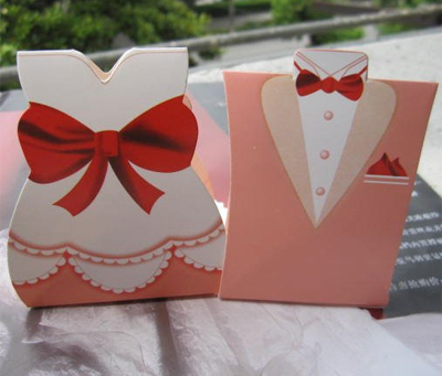 Bulk - Wedding Red Bride & Groom Favor Box (100 pcs)
