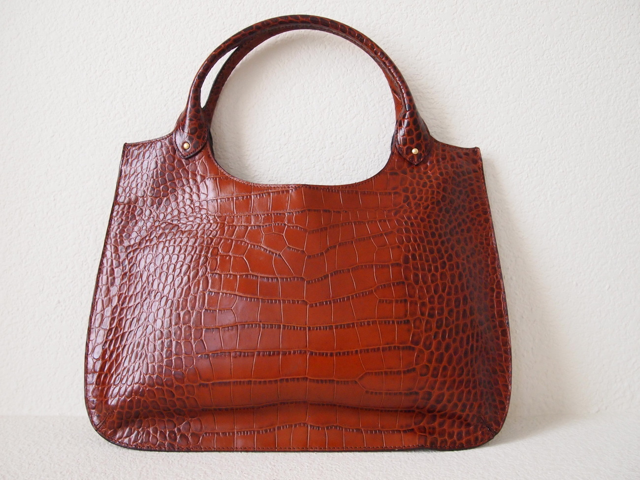 Brown Croc Embossed Patent Leather Tote / Shoulder Bag
