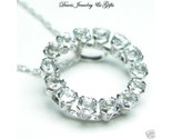 Buy Natural Aquamarine Circle Necklace 10k White Gold NWT