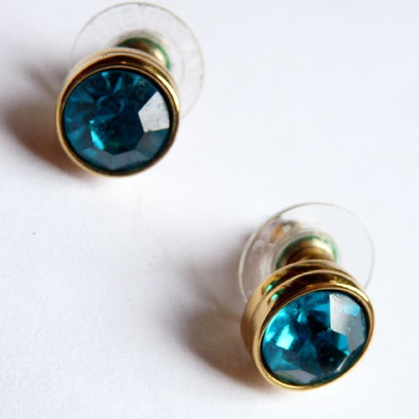 Signed SWAROVSKI Blue Rhinestone Earrings