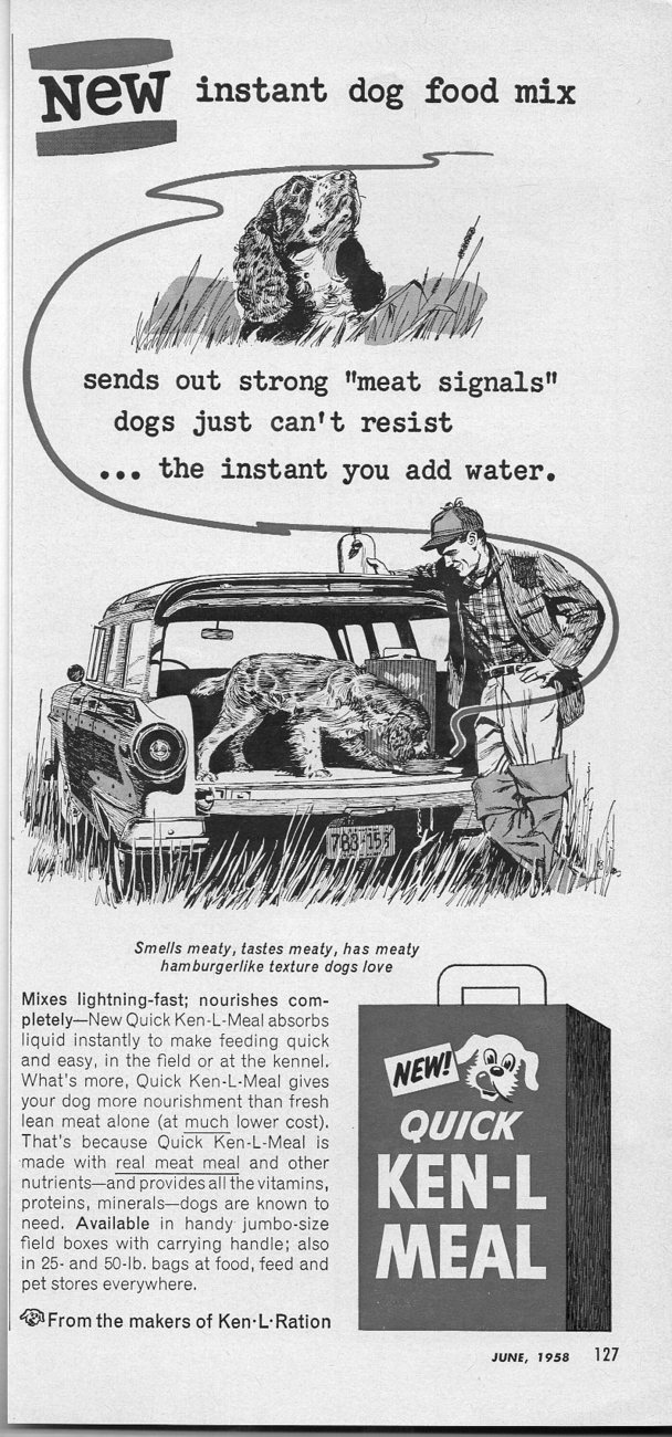 1958 Vintage Ad Ken-L-Meal Dog Food Hunter and Hunting Dog