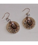 pot of gold set on silver disc earrings with 22... - $10.00
