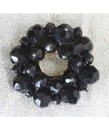 Elegant Black Cut Glass Circle Brooch 1960s Vin... - $21.95