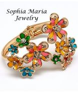 Multi color big flower hinged bangle bracelet c... - $18.35