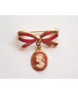 Dainty Cameo Brooch Pin Bow Shaped Vintage  - $5.95